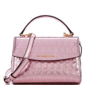 Michael Kors Ava Mini Pink Metallic Crossbody Bag